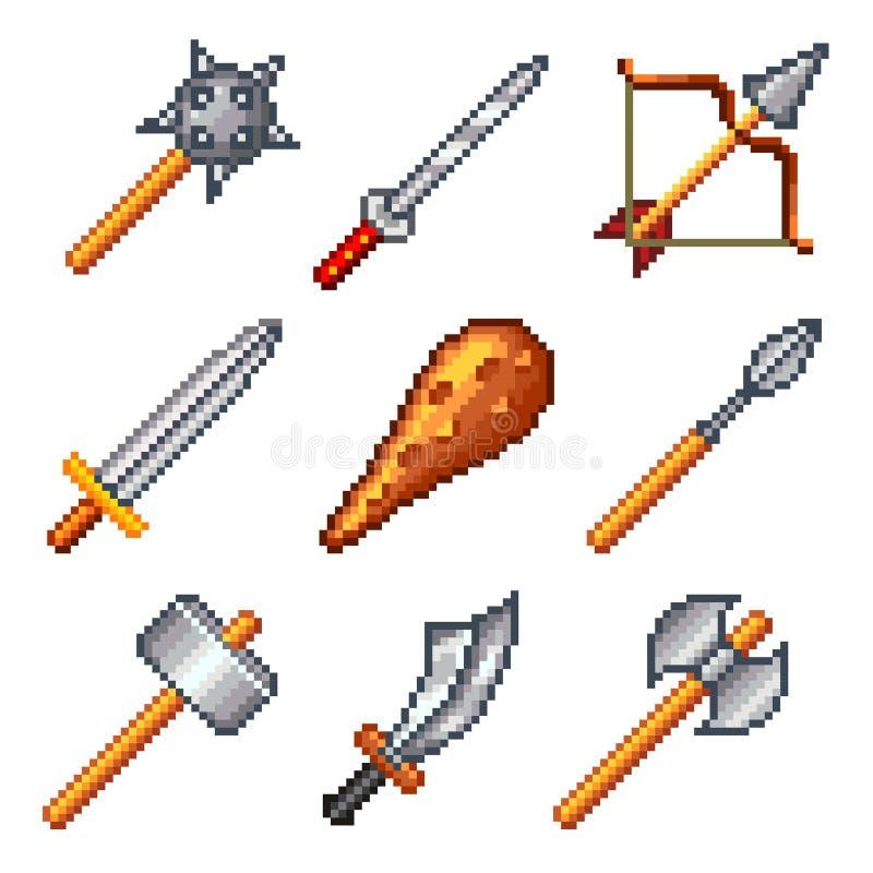 Pixelwapens voor de vectorreeks van spelenpictogrammen stock illustratie
