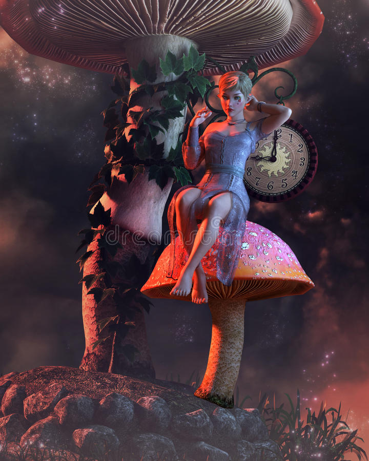Pixie στο μανιτάρι με το ρολόι απεικόνιση αποθεμάτων