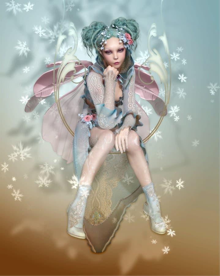 Pixie зимы иллюстрация штока