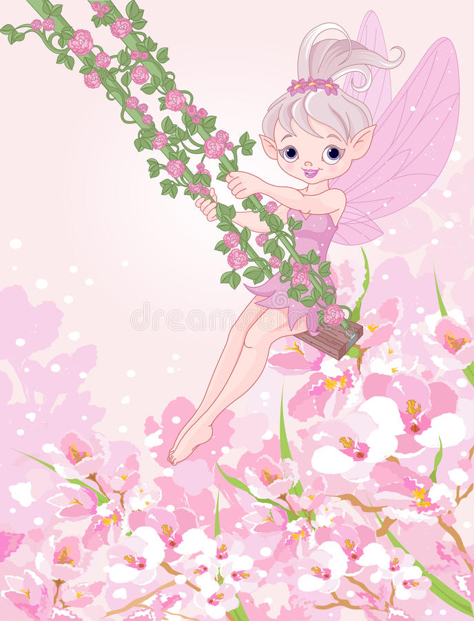 Pixy Fairy on a Swing royalty free illustration