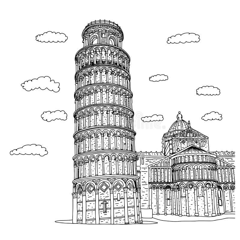 Piza kwadratowi budynki w Włochy nakreślenia wektorowym ilustracyjnym doodle wręczają patroszonego z czarnymi liniami odizolowywa ilustracja wektor