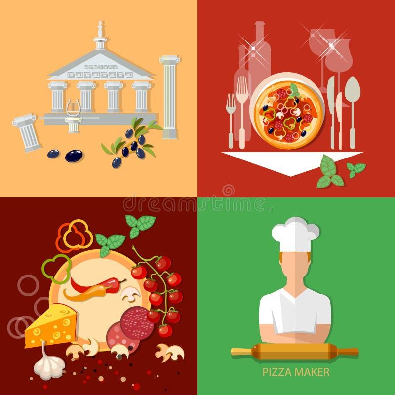 A pizaria italiana da culinária ajustou ingredientes principais da pizza do fogão ilustração stock
