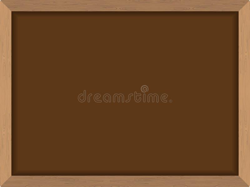 Pizarra Brown con el marco en la textura de madera Sch de las FO del tablero de tiza stock de ilustración