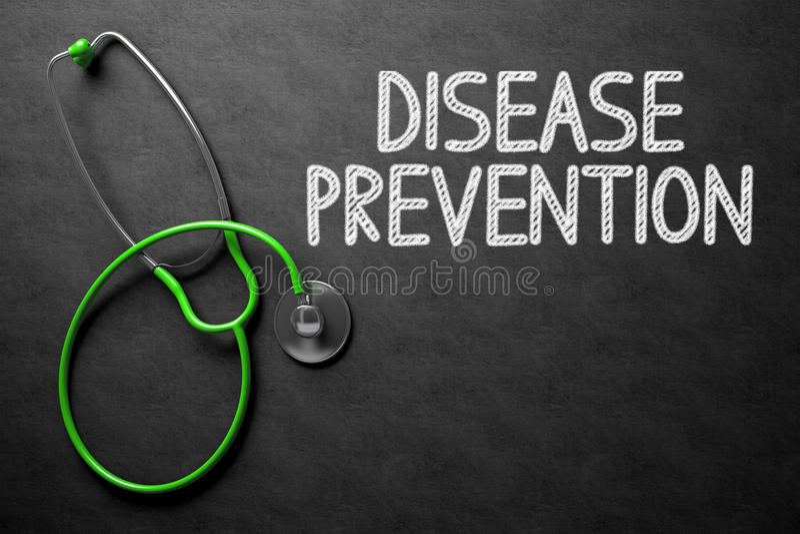 Pizarra con concepto de la prevención de la enfermedad ilustración 3D fotos de archivo libres de regalías