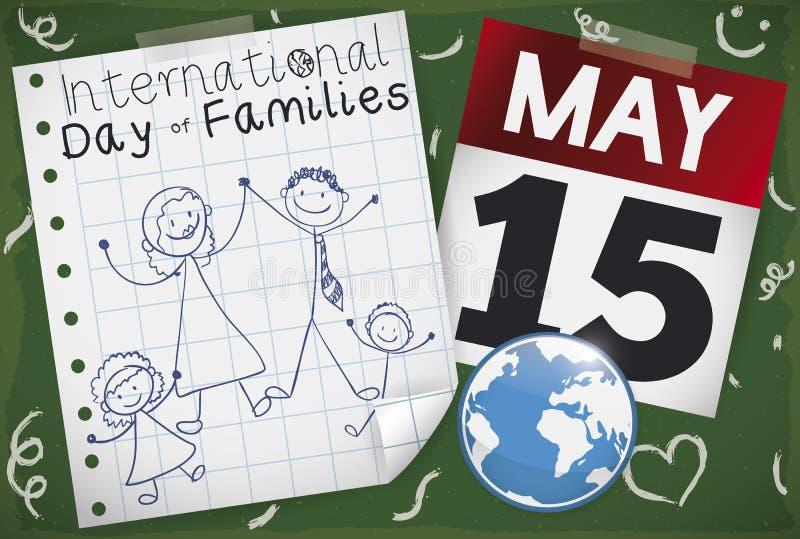 Pizarra con el dibujo, el calendario y el globo para el día de familias, ejemplo del vector stock de ilustración