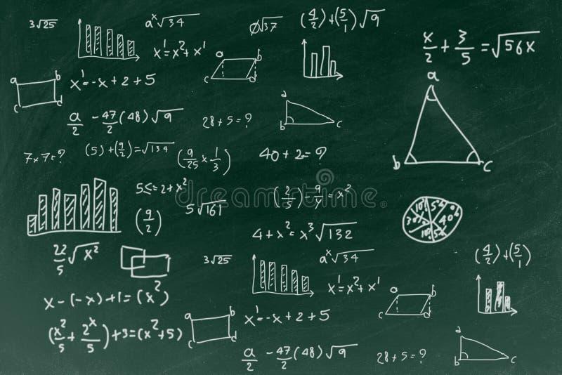 Pizarra con el fondo de la fórmula de la matemáticas de la escritura, de nuevo a concepto de la educación escolar foto de archivo