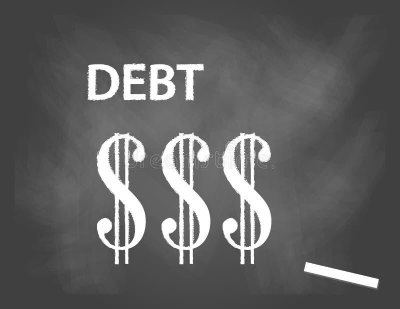Pizarra con el texto de la deuda y el símbolo del dólar ilustración del vector