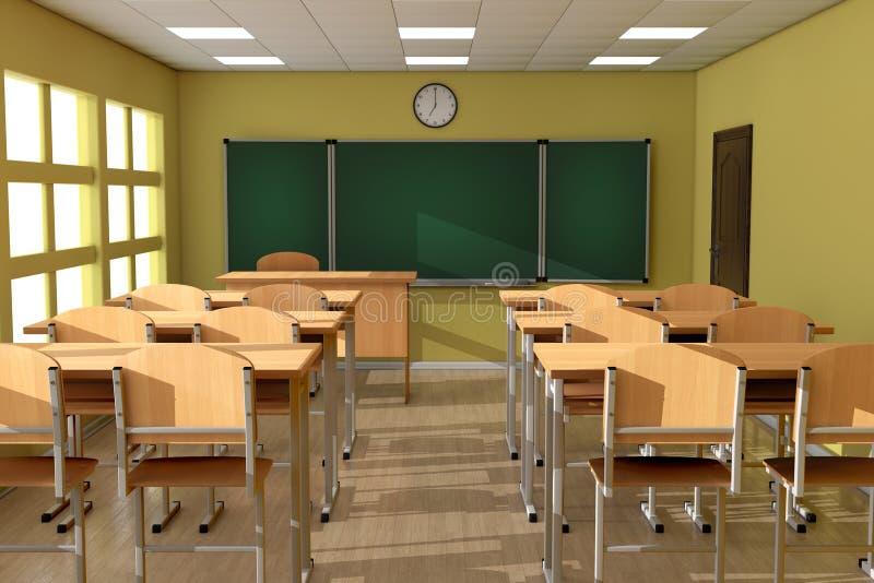 Pizarra con filas del escritorio de madera TA de la escuela o de la universidad de la conferencia stock de ilustración