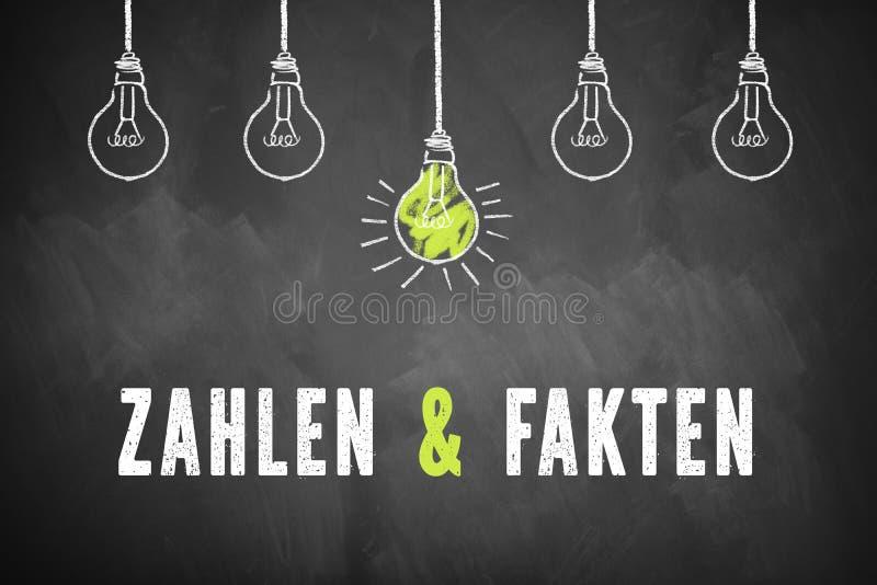 Pizarra con las bombillas y los números del ` de las palabras y ` de los hechos en alemán libre illustration