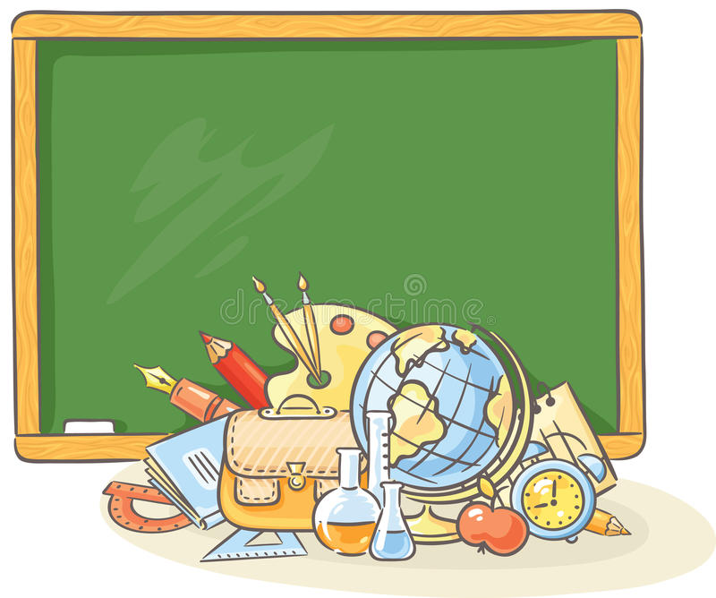 Pizarra con muchas cosas de la escuela ilustración del vector