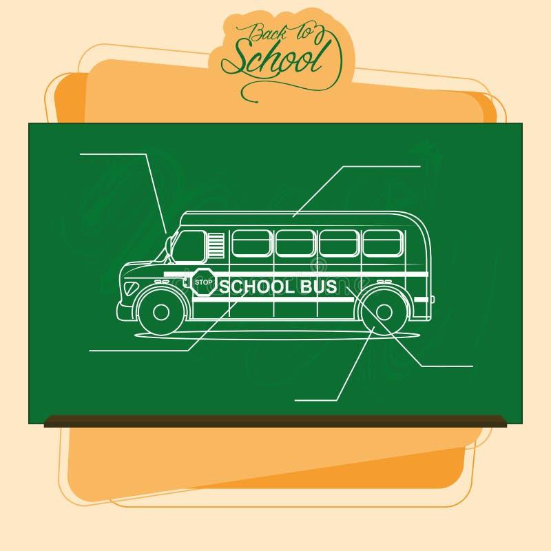 Pizarra con un dibujo de un autobús escolar stock de ilustración