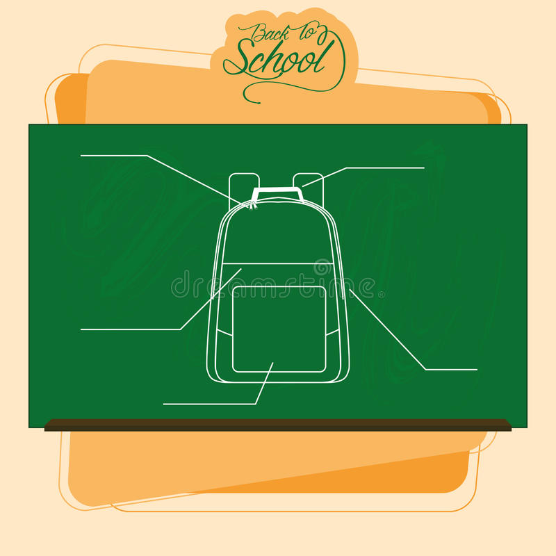 Pizarra con un dibujo de una mochila ilustración del vector