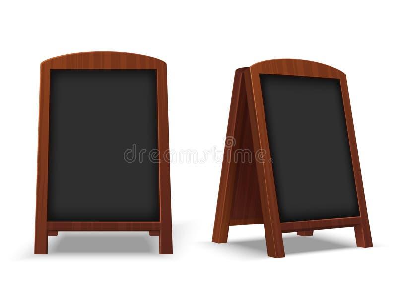 Pizarra de la acera Pizarra al aire libre del restaurante con el marco de madera El vector del caballete 3d del café que mandaba  stock de ilustración