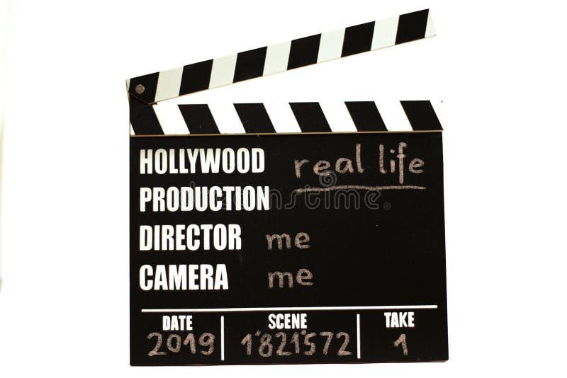 Pizarra de la película - clapperboard de la película Vida real imagen de archivo