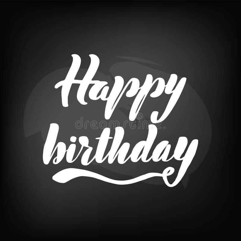 Pizarra de la pizarra que pone letras a feliz cumpleaños ilustración del vector