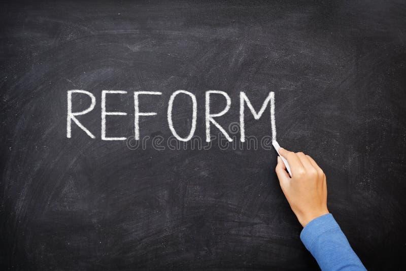 Pizarra de la reforma - reforma de la educación fotos de archivo libres de regalías