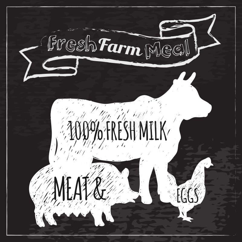 Pizarra del cartel de la granja ilustración del vector