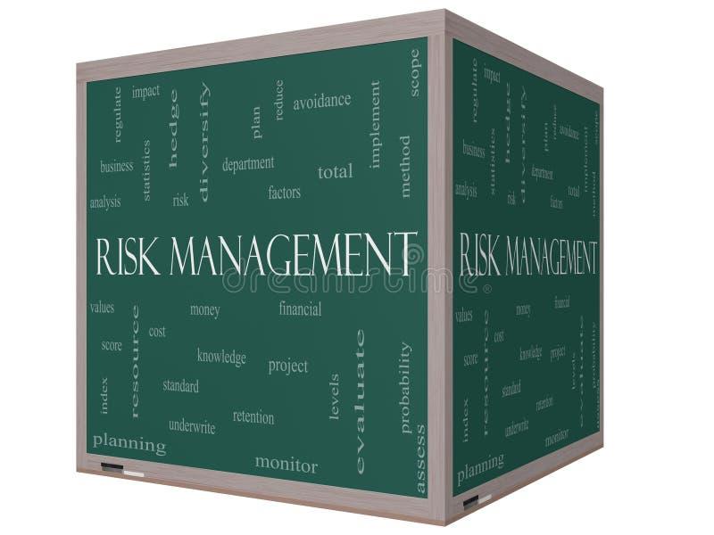Pizarra del cubo de la nube 3D de la palabra de la gestión de riesgos stock de ilustración