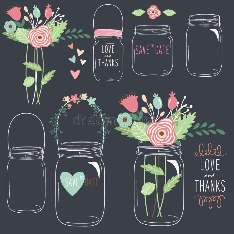 Pizarra del drenaje de la mano que se casa a Mason Jar libre illustration