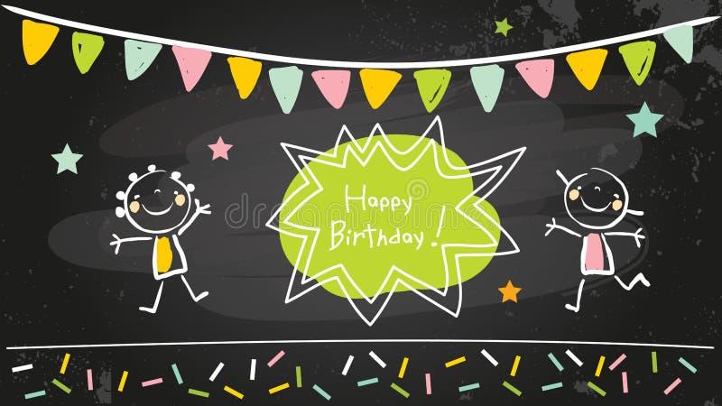 Pizarra del feliz cumpleaños stock de ilustración
