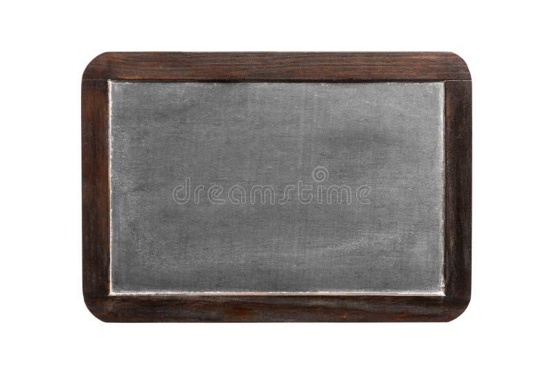 Pizarra en blanco del vintage con el marco de madera, aislado en blanco fotos de archivo
