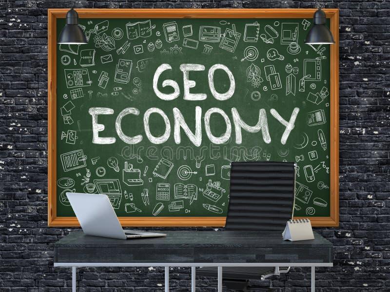 Pizarra en la pared de la oficina con concepto de la economía de Geo 3d stock de ilustración