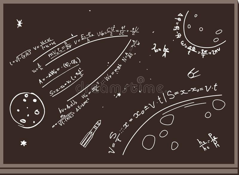 Pizarra Figuras con tiza espacio fórmulas Planetas, cohetes Fondo de Brown ilustración del vector