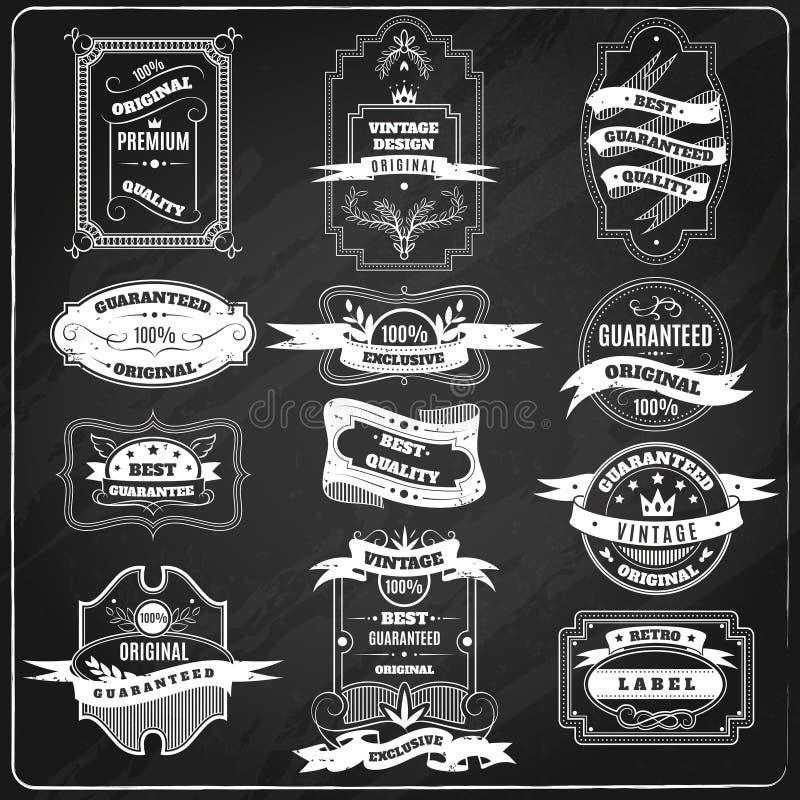 Pizarra fijada emblemas retros de la tiza libre illustration
