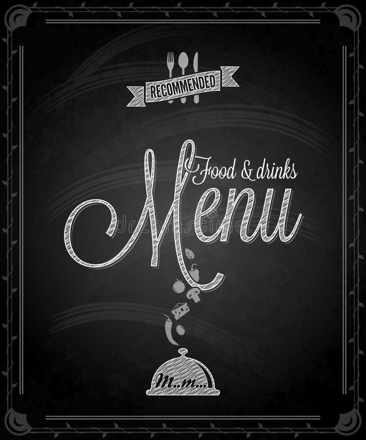 Pizarra - menú de la comida del marco ilustración del vector