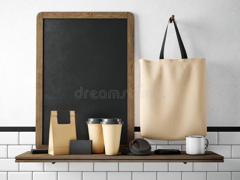 Pizarra negra en el estante con el sistema de café representación 3d fotos de archivo libres de regalías