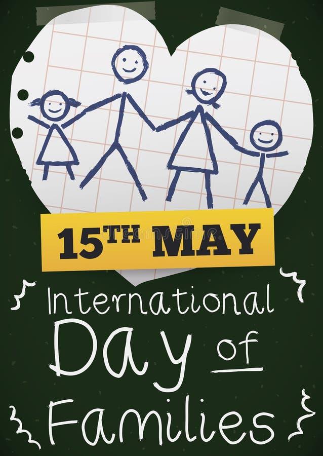 Pizarra, papel del cuaderno y dibujo para el día internacional de familias, ejemplo del vector ilustración del vector
