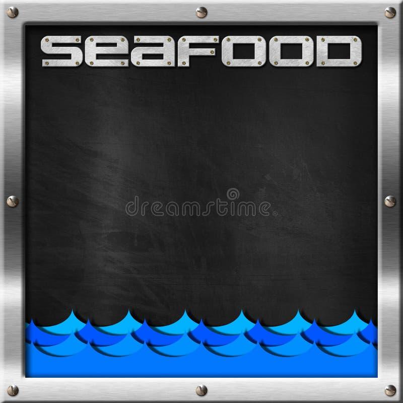 Pizarra para el menú de los mariscos ilustración del vector