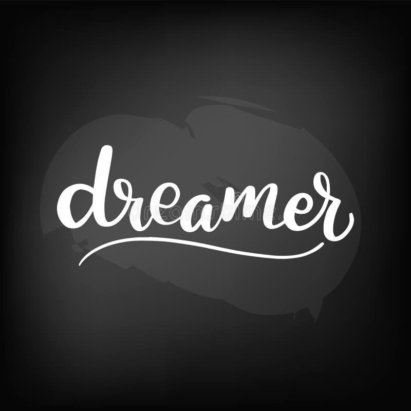 pizarra que pone letras al soñador stock de ilustración