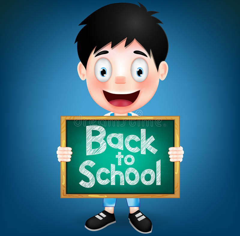 Pizarra sonriente de Character Holding Green del estudiante del muchacho libre illustration