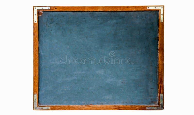 Pizarra vacía de madera de la escuela del viejo vintage sucio azul o pizarra retra con el fondo resistido del blanco del marco foto de archivo libre de regalías