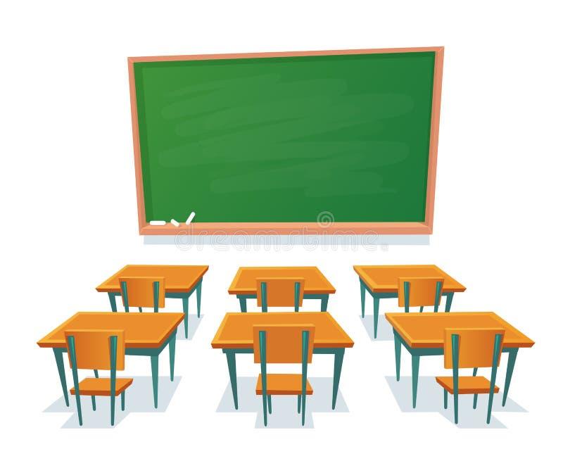 Pizarra y escritorios de la escuela La pizarra vacía, el escritorio de la sala de clase y la silla de madera aislaron el ejemplo  stock de ilustración
