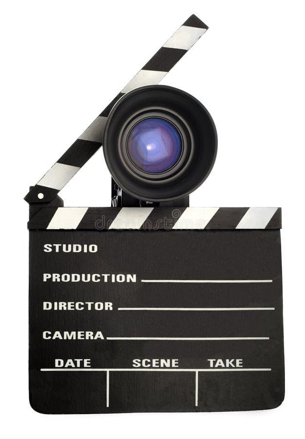 Pizarra y lente de la película imagen de archivo