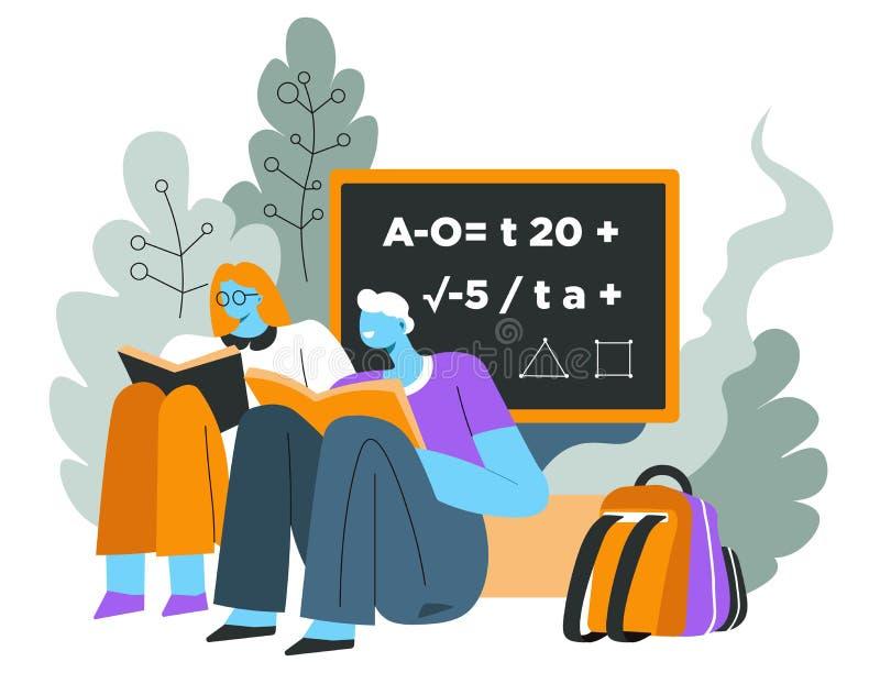 Pizarra y libros de texto, libros de lectura de los alumnos, educación libre illustration