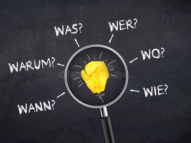 Pizarra y tablero blanco con la bombilla magnifiying del vidrio y del papel con las palabras alemanas de las preguntas para cuand fotos de archivo