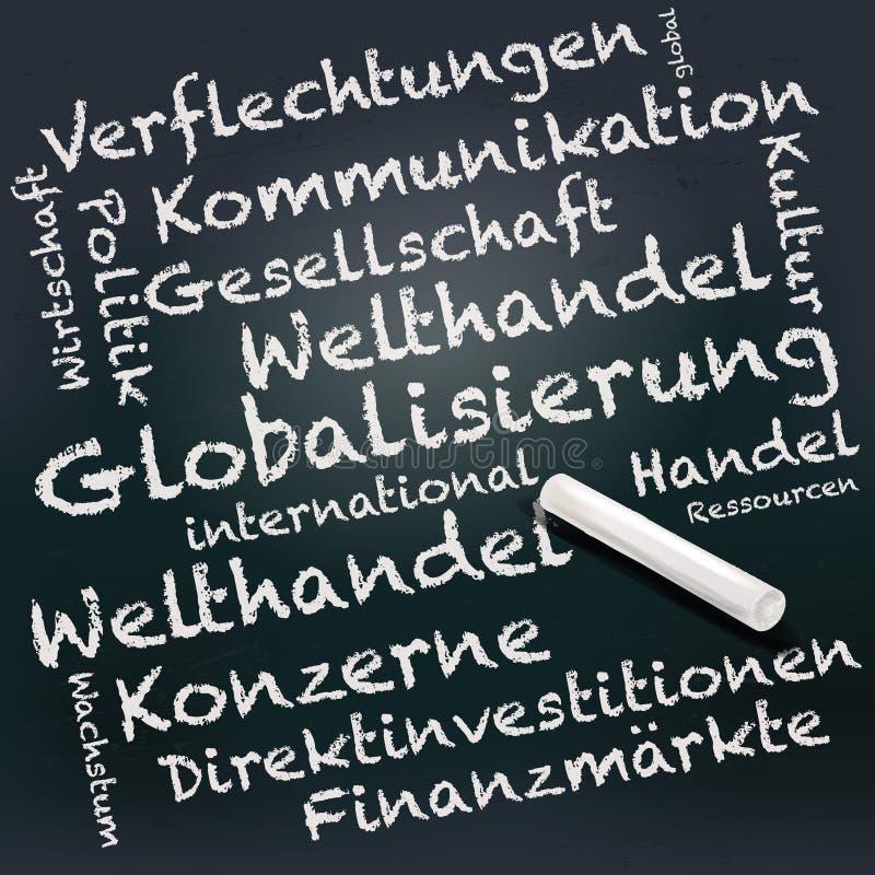 Pizarra y tiza con la globalización libre illustration