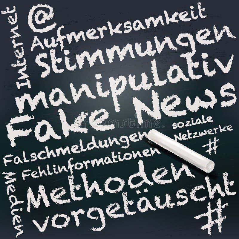 Pizarra y tiza con noticias falsas en Alemania libre illustration