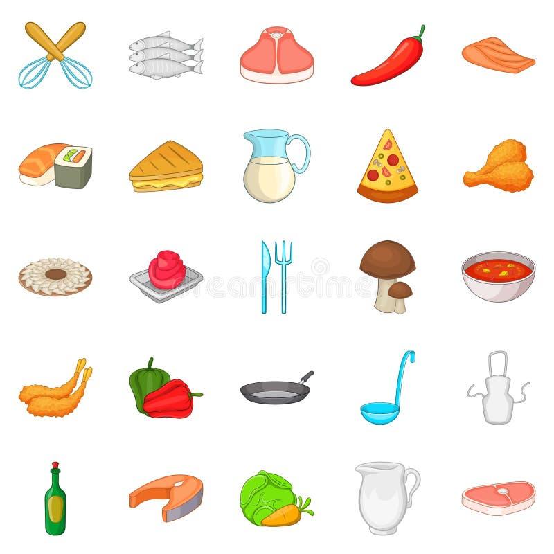 Pizz ikony ustawiać, kreskówka styl ilustracji