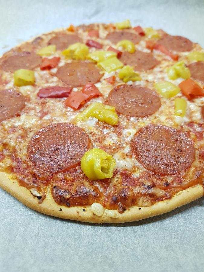 Pizz pepperoni salame piccante obrazy stock