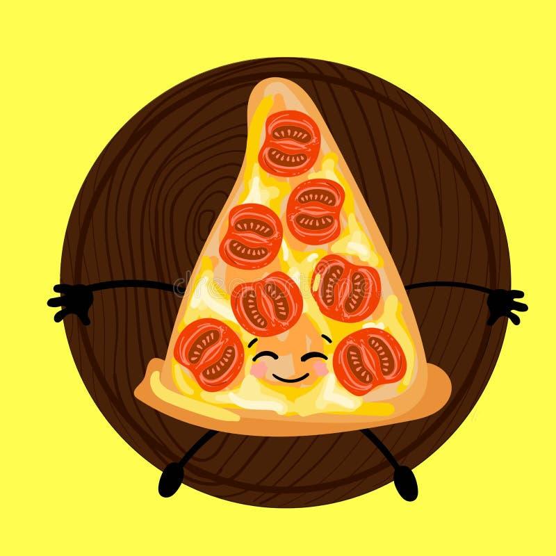 Pizza är ett gulligt tecken med en framsida Skivapizza på en platta Gul bakgrund För ditt företag pizzeria, restauranglogo för vektor illustrationer