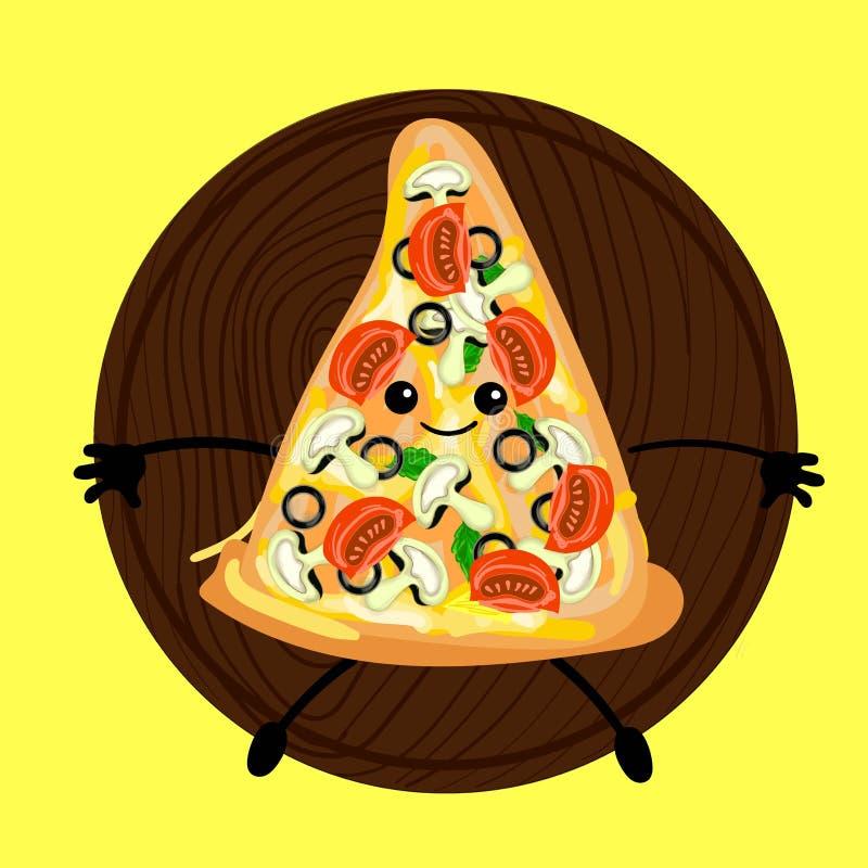 Pizza är ett gulligt tecken med en framsida Skivapizza på en platta Gul bakgrund För ditt företag pizzeria, restauranglogo för royaltyfri illustrationer