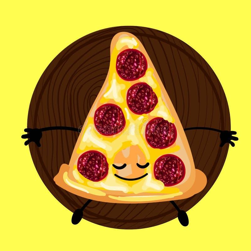 Pizza är ett gulligt tecken med en framsida Skivapizza på en platta Gul bakgrund För ditt företag pizzeria, restauranglogo för stock illustrationer