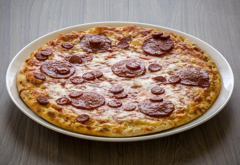 Download Pizza imagen de archivo. Imagen de salami, salsa, queso - 100532813