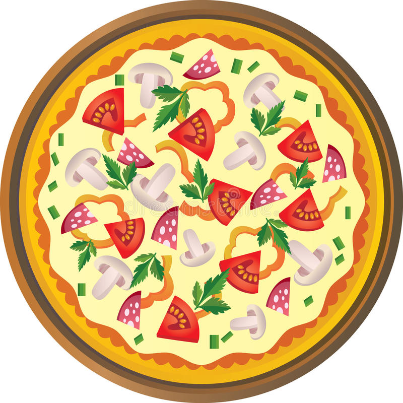 Pizza. Illustration of pizza - front view