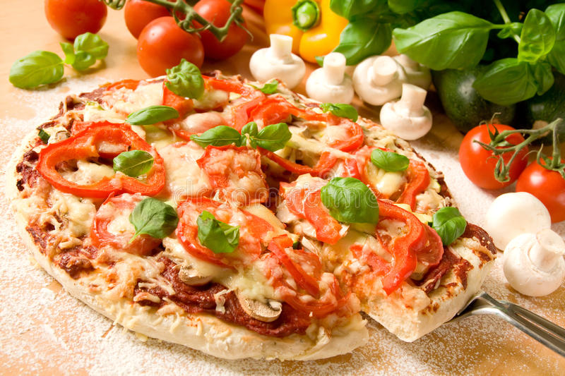 Download Pizza stock image. Image of cheese, herbs, basil, tomatoes - 11558091