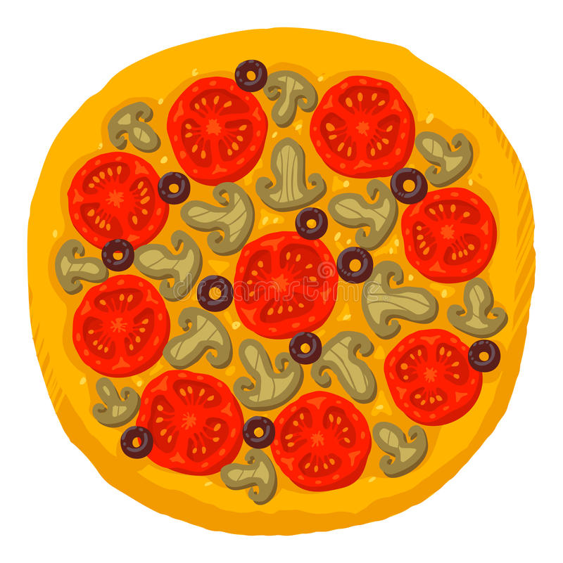 Pizza. Appetizing pizza with mushrooms, cheese and olives. Vector illustration stock illustration